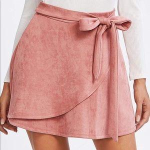 Blush Suede Skirt SHEIN